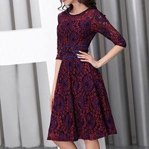 🍃🌹 Miusol - 'Cranberry & Navy' Lace Dress 🍃